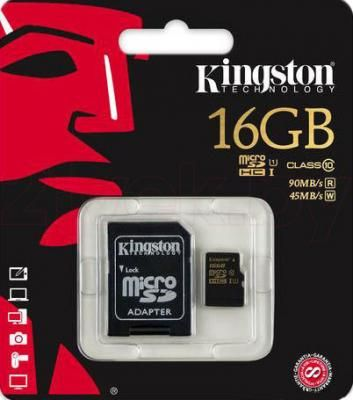 КП microSDHC 16GB с адаптером Kingston (class 10) UHS-I 45MB/s