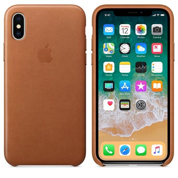 Накладка Apple iPhone X Leather Case, коричневый. Фото N2