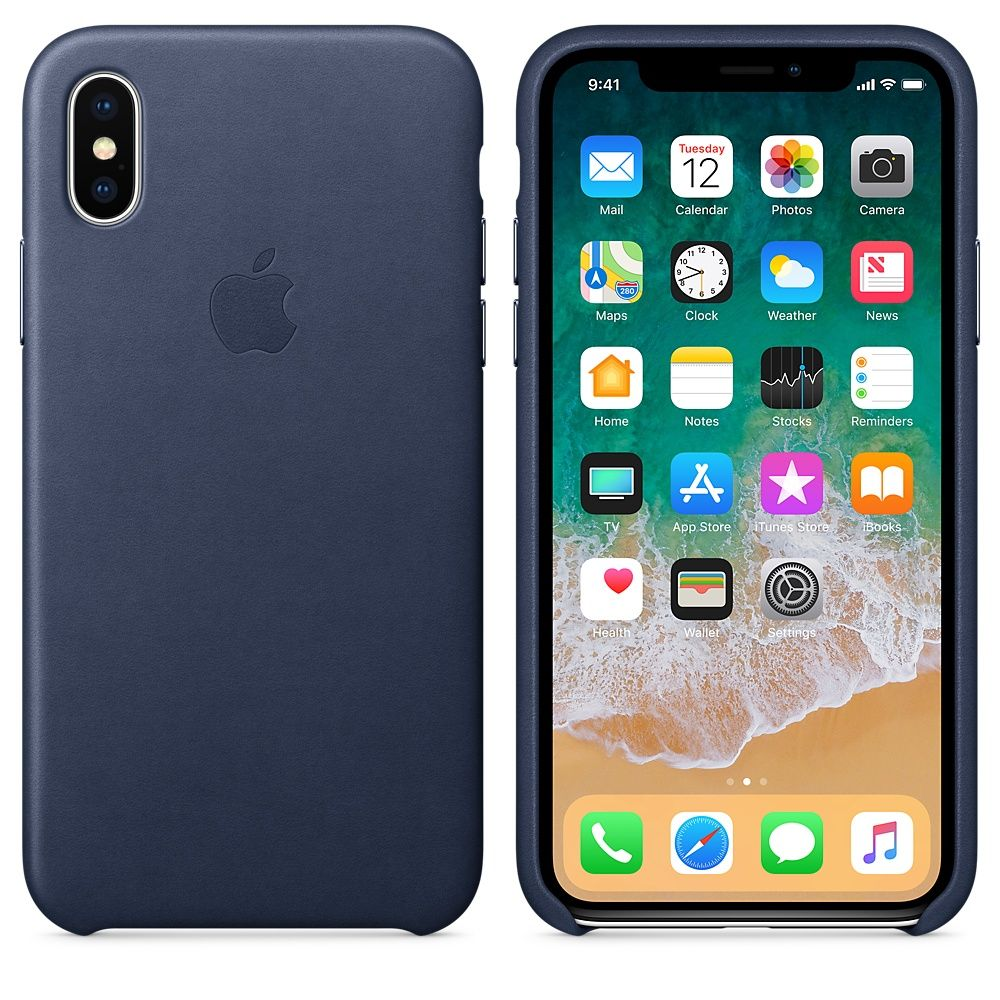 Накладка Apple iPhone X Leather Case, темно-синий. Фото N2