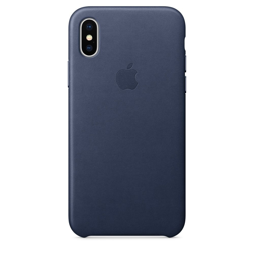 Накладка Apple iPhone X Leather Case, темно-синий