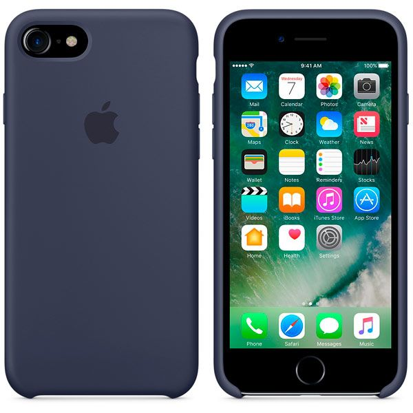 Накладка Apple iPhone 7 Silicone Case, темно-синий. Фото N2