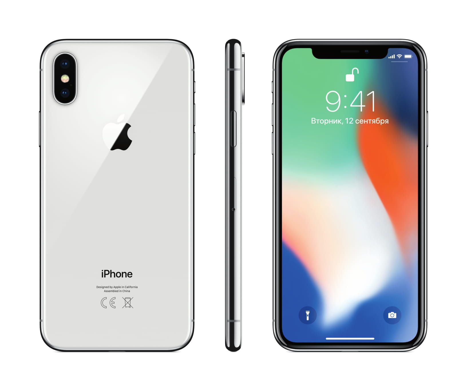 Apple iPhone X 64GB, серебристый. Фото N2