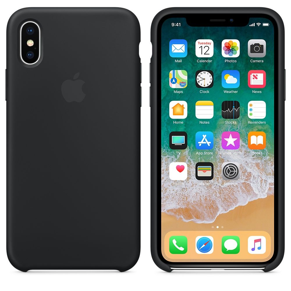 Накладка Apple iPhone X Silicone Case, черный. Фото N2